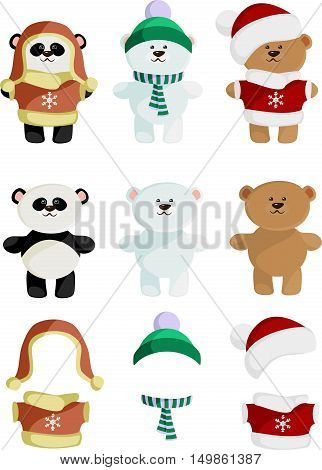 Collection of Cute Bear panda brown polar in clothes and without