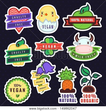 Vector multicolor vegan cruelty free natural and organic products stickers