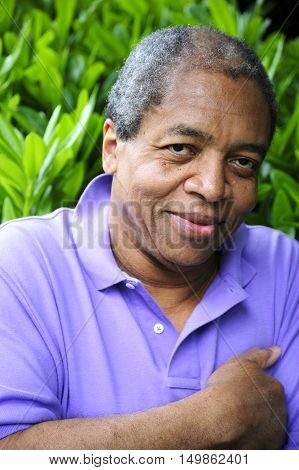 Handsome african american senior male expressions outside