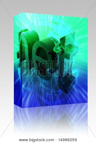 Software package box Dot net internet web url Asia worldwide illustration