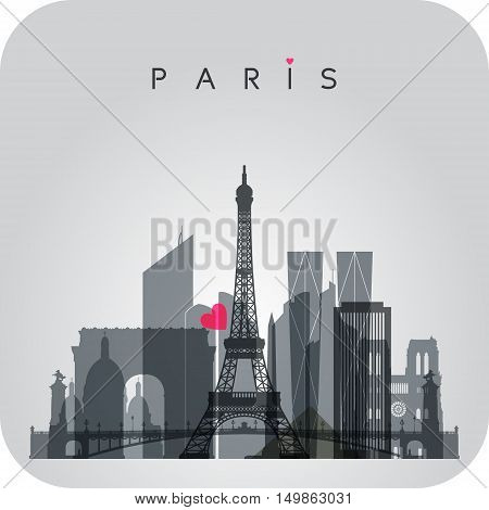 Gray Paris skyline card with panorama of the city with major attractions and red heart. Vector illustration.