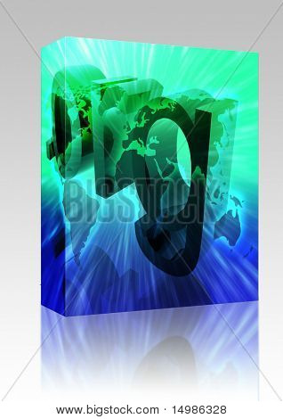 Software package box Dot org internet web url worldwide illustration