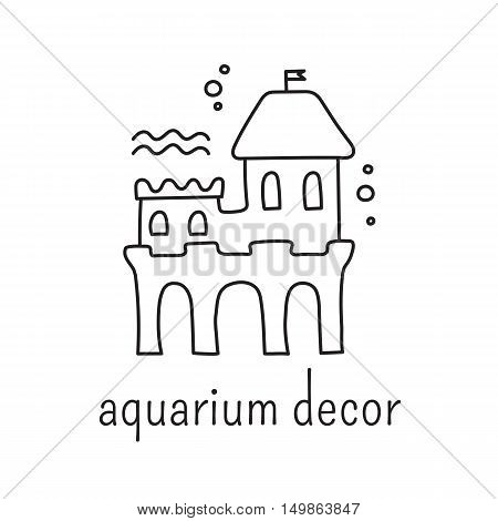 Hand drawn thin line icon, vector logo template illustration. Aquarium care isolated symbol. Water decoration, castle. Black on white pictogram. Simple mono linear modern design.