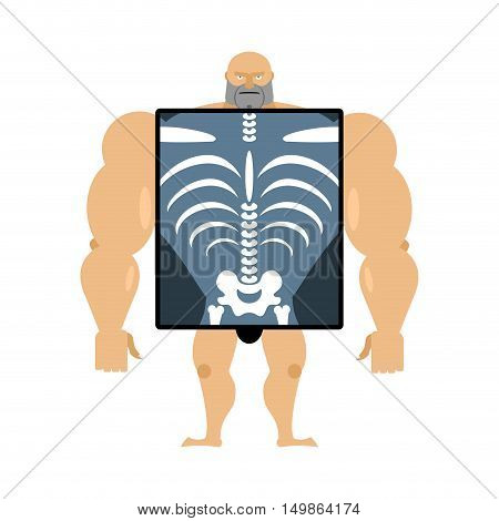 X-ray Of Person. Structure Of Men. Construct Of Athlete. Bones And Skull. Athlete Internal Organs. H