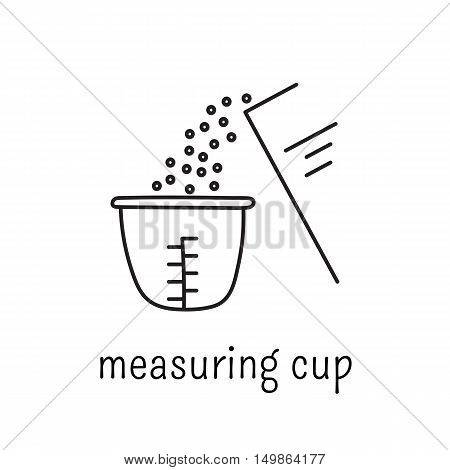 Hand drawn thin line icon, vector logo template illustration. Measuring cup isolated symbol. Black on white pictogram. Simple mono linear modern design.