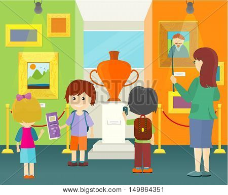 Children in museum. Little boys and girls with school backpacks view museum exhibits. Guide with children. Interior of the museum with paintings and vase. Vector illustration in flat style
