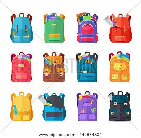 Colored school backpacks set. Backpacks with school supplies, notebooks, pencils, pens, rulers, scissors, paper.