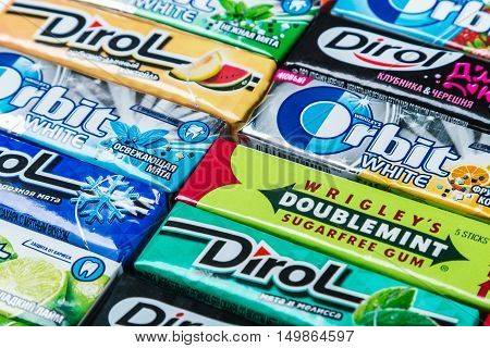 Moscow, RUSSIA - May 24, 2016: various brand chewing gum. chewing gum brands Orbit, Dirol, Eclipse, Stimorol, Wrigley's, Spearmint. a lot of chewing gum packages. focus on chewing gum Eclipse.