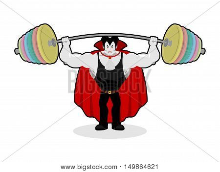 Dracula And Barbell. Gym Over His Head. Exercises On Shoulders. Strong, Powerful Vampire. Illustrati