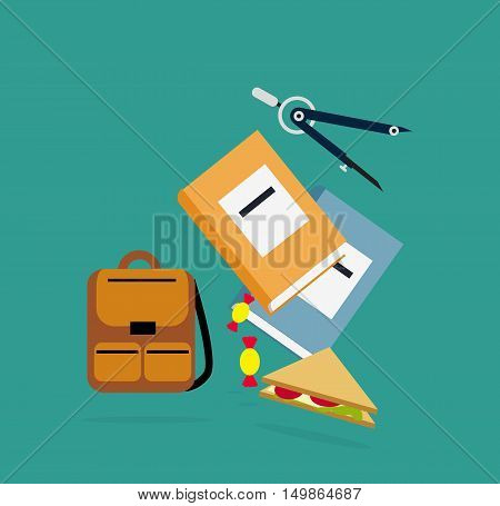 Items backpack, book, dividers lunch. Education icon, school  learning, education concep