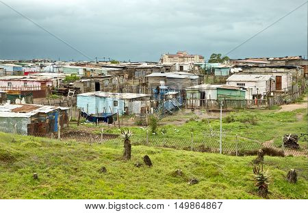 rustic corrugated iron homes in a settlement of poor people in south africa