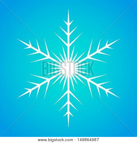 Snowflake icon graphic. White snowflake on blue background . Vector snowflake sign.