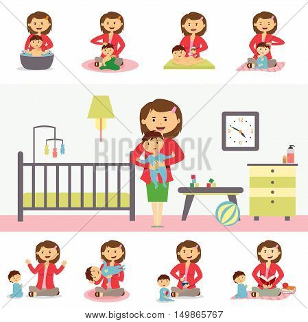 Motherhood and family concept vector. Flat Design. Young woman playing, bathes, feeding, reading with his son. Babysitting job illustrating. Set of baby life moments. Mother s leisure with baby.