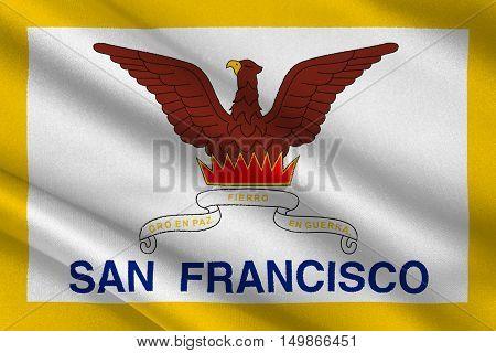 Flag of San Francisco of Northern California United States. 3D illustration