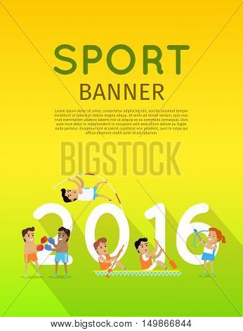 Sport banner 2016. Boxing, canoe rowing, pole vault and archery sport discipline. Different sports, athletes, sport competition.