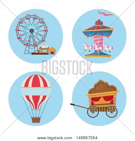 Hot air balloon ferris wheel cart carousel and stands. Carnival festival fair circus and celebration theme. Colorful design. Vector illustration