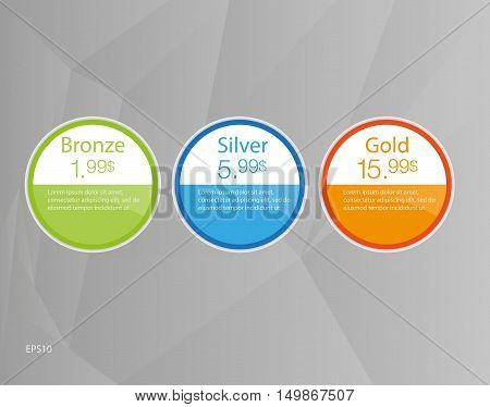 Three tariffs banners. Web pricing. Vector design for web app.