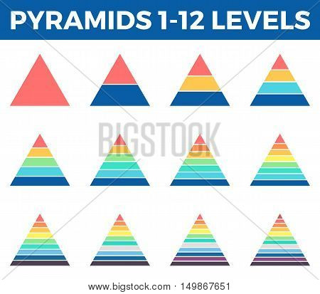 Pyramids, triangles for infographics. Diagrams with 1 - 12 steps, levels. Vector design elements