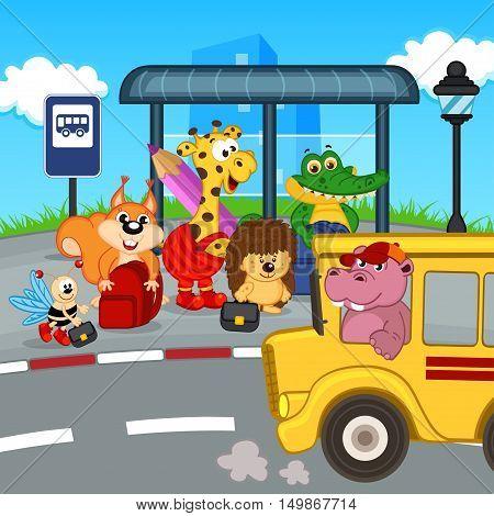animals at bus stop waiting school bus - vector illustration, eps