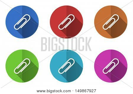 Flat design vector icons. Colorful paperclip web buttons set.