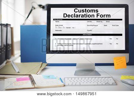 Customs Declaration Form Invoice Freight Parcel Concept