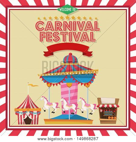 Carousel striped tent and stand. Carnival festival fair circus and celebration theme. Colorful and frame design. Vector illustration
