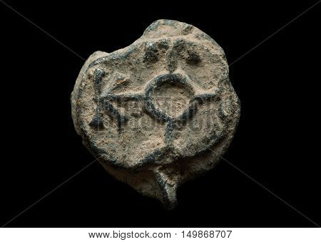 Antique Post Seal Made Of Lead Isolated On Black
