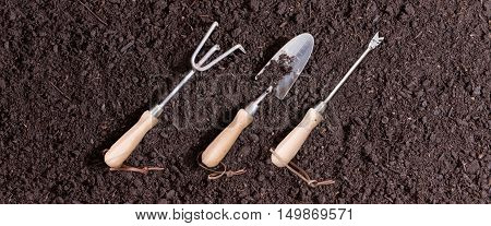 Three small garden tools on soil arranged in a neat row on a background of rich brown earth ready for transplanting seedlings in the spring with a rake trowel and probe or small augur