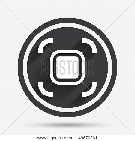 Autofocus zone sign icon. Photo camera settings. Circle flat button with shadow and border. Vector