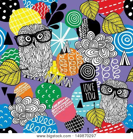 Seamless colorful background with hand drawn design elements and cute doodle owls in vintage eyeglasses. Vector pattern autumn season.