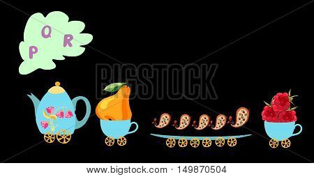 Cute Cartoon English Alphabet With Colorful Image. Teapot And Cups Train. Kids Vector Abc. Letter P,