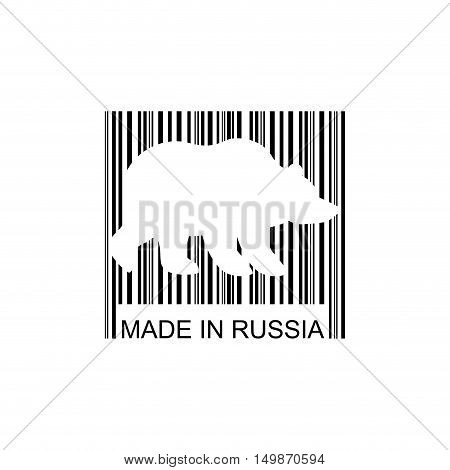 Bear Barcode For Goods From Russia. Wild Animal Bar Code. Logo For Russian Commodity