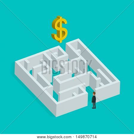 Isometric 3d creative business concept. Labyrinth solution and businessman. Vector flat illustration. In search of profit and money