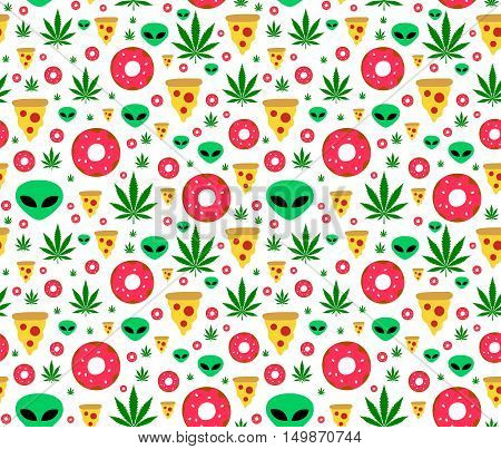 Dope trip flat vector seamless pattern with marijuana leafs donuts pizza slices and aliens. Isolated on white background