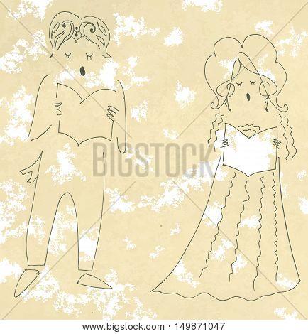 Beautiful vocal duet. Cute cartoon vector illustration.