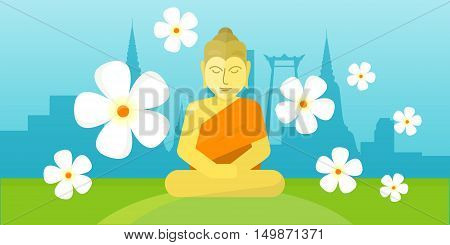 Thai god Buddha sitting on meadow over city landscape. Yoga zen. Indian, Buddhism, spiritual art, esoteric. Asian religion buddha statue with calm face.