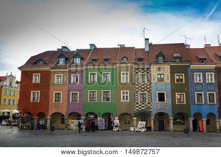 Poznan Poland - September 30 2016: Old Market in Poznan with colorful townhouses so called