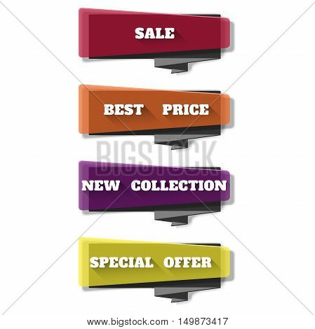 Sale banner design. Vivid translucent plastic cards with shadows. Vector banner set on the theme of sale, discount, retail. Abstract transparent banners set. Vector illustration