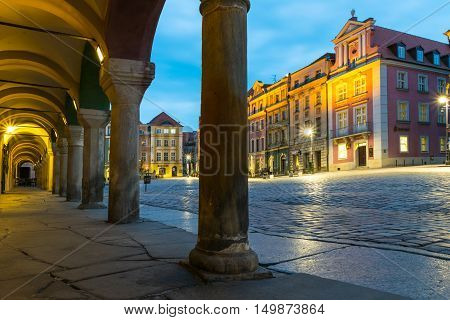 Poznan Poland - September 30 2016: Night photo of Poznan Old Market in Poznan with colorful illuminated townhouses.