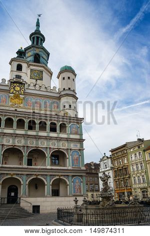 Poznan Poland - September 29 2016: Poznan Old Town with Prozerpin's fountain beautifully decorated facade of the city hall and numerous townhouses.