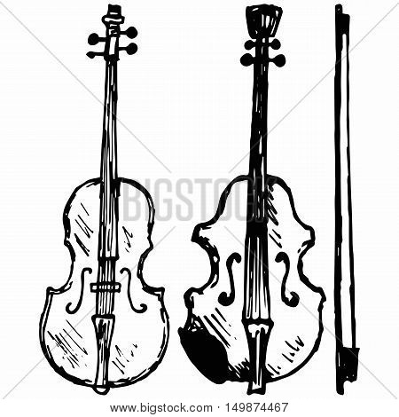 Violin Musical string instrument. Isolated on white background. Vector doodle style