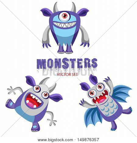 Vector Set Cute Halloween Monsters With Toothy Smiles. Funny Colorful Monsters For Kids. Halloween Costume Ideas. Halloween Pranks.