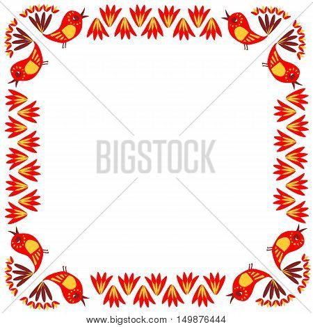 Beautiful greeting card. Bright frame with colorful birds and flowers on white background. Place for your text. Vector illustration. Print for fabric.