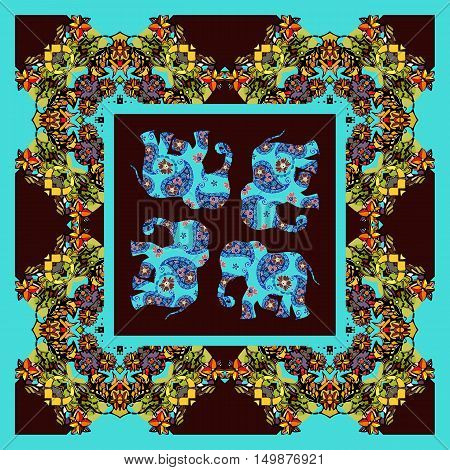 India. Lovely tablecloth or quilt. Ethnic bandana print with ornament border. Silk neck scarf with beautiful elephants. Summer kerchief square pattern design style for print on fabric.