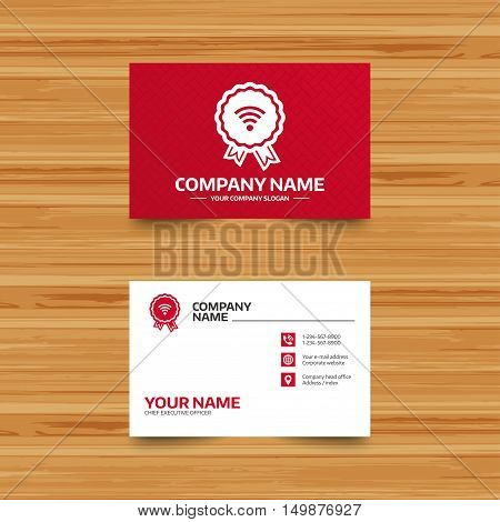 Business card template. Award Wifi sign. Wi-fi medal symbol. Wireless Network icon. Wifi zone. Phone, globe and pointer icons. Visiting card design. Vector