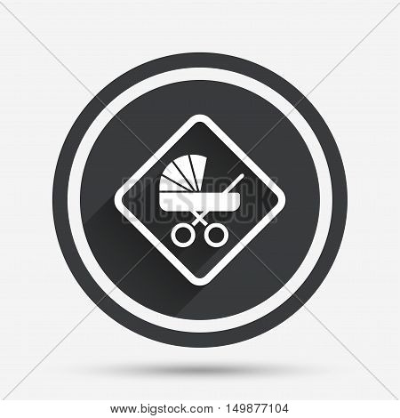 Baby on board sign icon. Infant in car caution symbol. Baby buggy carriage. Circle flat button with shadow and border. Vector
