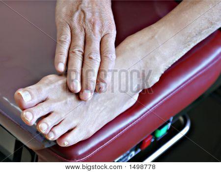 Senior Patient Foot On Examination Bench