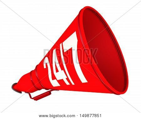 Round the clock informational support. Red megaphone with inscription