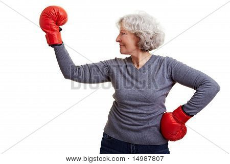 Happy Senior Woman Boxing
