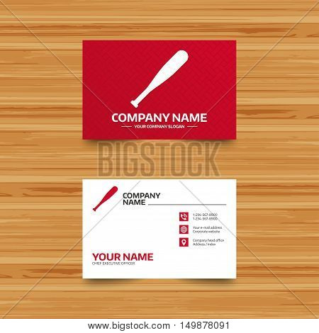 Business card template. Baseball bat sign icon. Sport hit equipment symbol. Phone, globe and pointer icons. Visiting card design. Vector